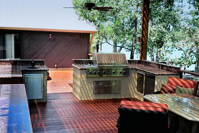 Outdoor kitchens houston custom decks flagstone and for Outdoor kitchen designs houston texas